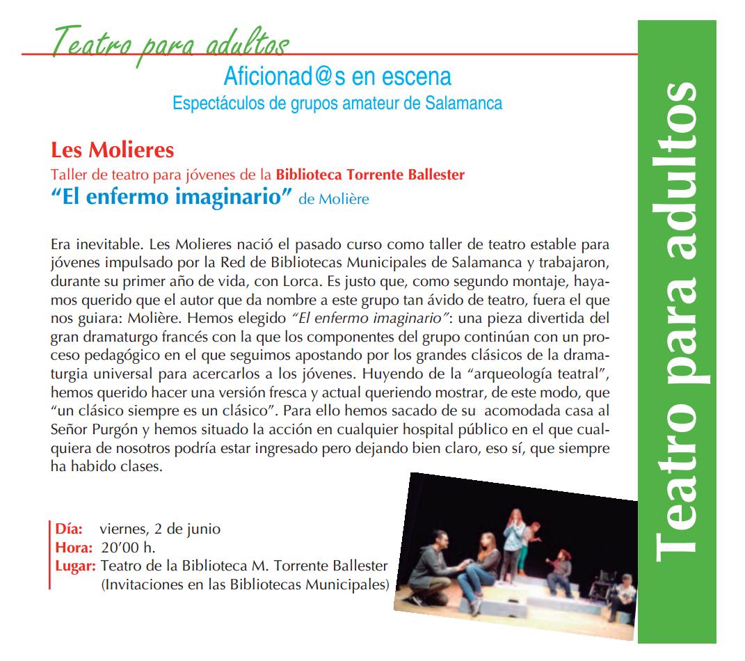 Les Molieres, El enfermo imaginario, Torrente Ballester, Salamanca