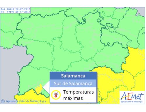 El sur de Salamanca regresa a la alerta meteorológica amarilla, este jueves.