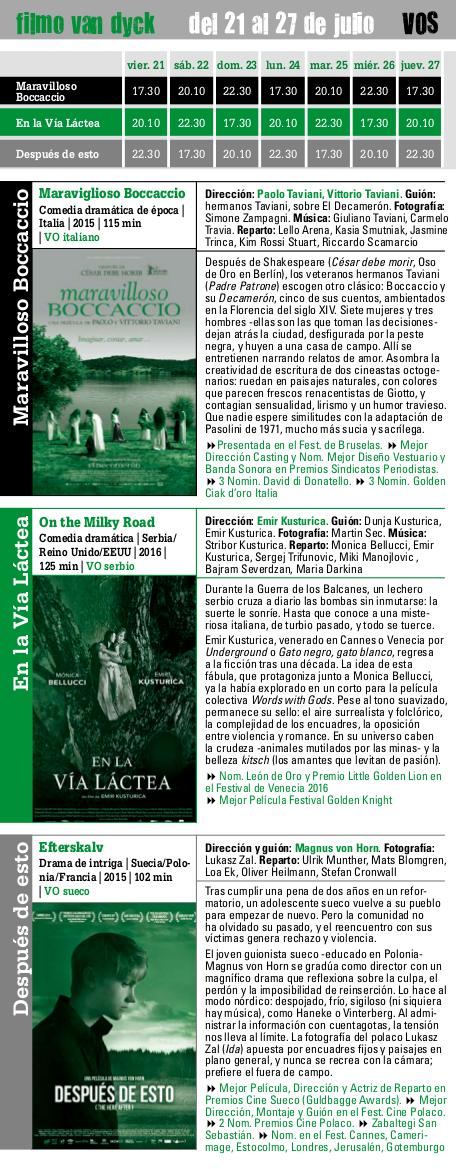 filmo Van Dyck 2017, del 21 al 27 de julio