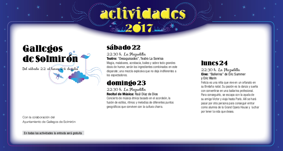 Gallegos de Solmirón, Noches de Cultura 2017