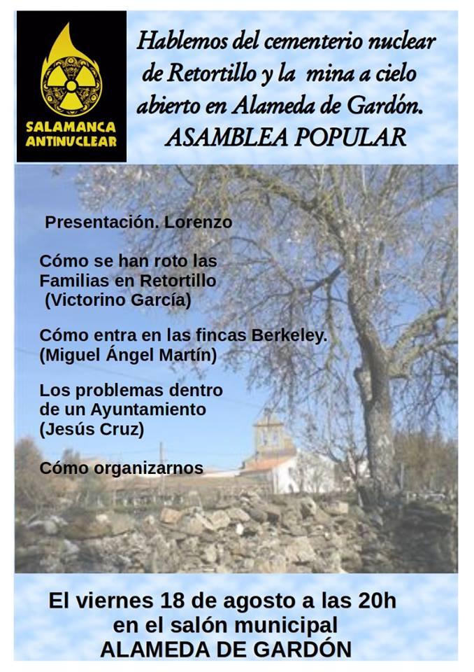 Asamblea Salamanca Antinuclear, Agosto 2017