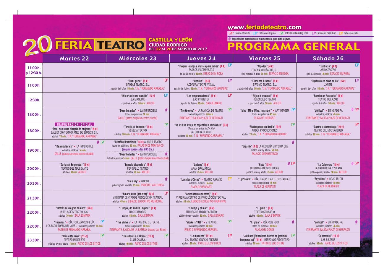XX Feria de Teatro de Castilla y León, Ciudad Rodrigo
