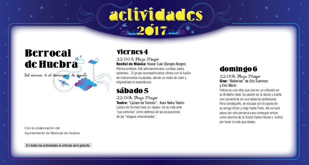 Berrocal de Huebra, Noches de Cultura 2017