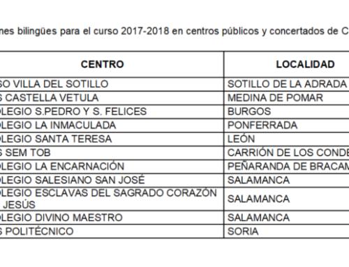 Salamanca sumará cuatro secciones más a la red de centros bilingües en el curso 2017-2018.