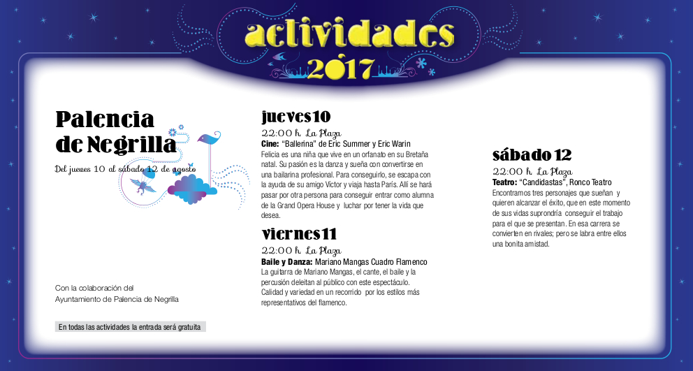 Palencia de Negrilla, Noches de Cultura 2017