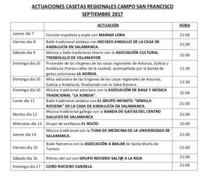 Actuaciones, Casas Regionales 2017