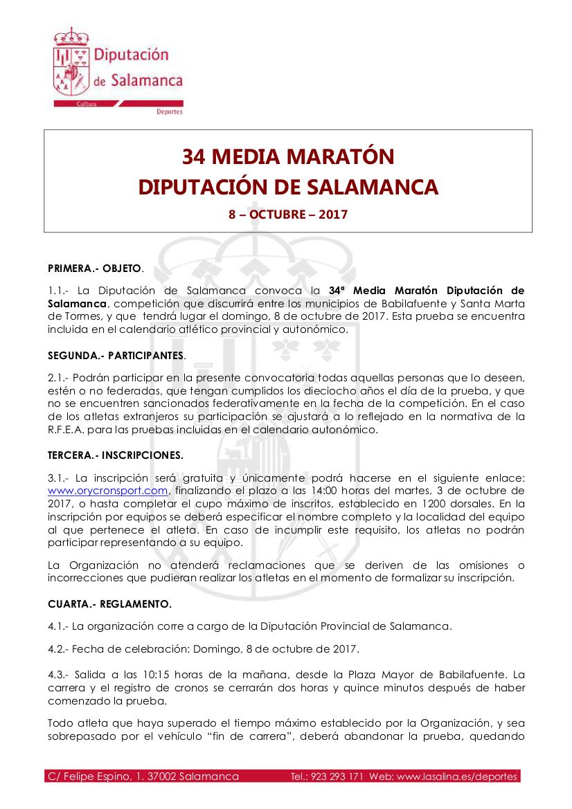 XXXIV Media Maratón Diputación de Salamanca, 2017