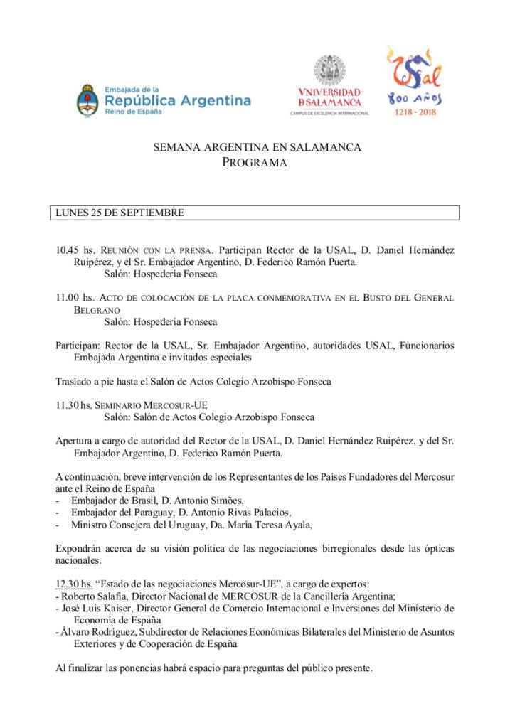 Ciclo Argentino de Conferencias y Cine Nacional Universidad de Salamanca Septiembre 2017
