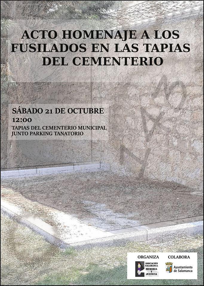 Acto Homenaje a los Fusilados en las Tapias del Cementerio Asociación Salamanca por la Memoria y la Justicia Octubre 2017