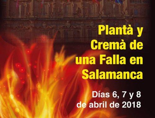 Salamanca es la ciudad elegida por la Asociación Cultural Fallers Pel Món para dar a conocer la fiesta de las fallas en 2018.