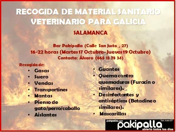 Recogida de Material Sanitario Veterinario para Galicia Pakipalla Salamanca Octubre 2017