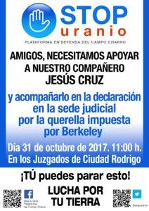 Concentración Ciudadana en Apoyo a Jesús Cruz Ciudad Rodrigo Octubre 2017