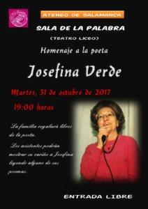 Homenaje a la poeta Josefina Verde Ateneo de Salamanca Octubre 2017