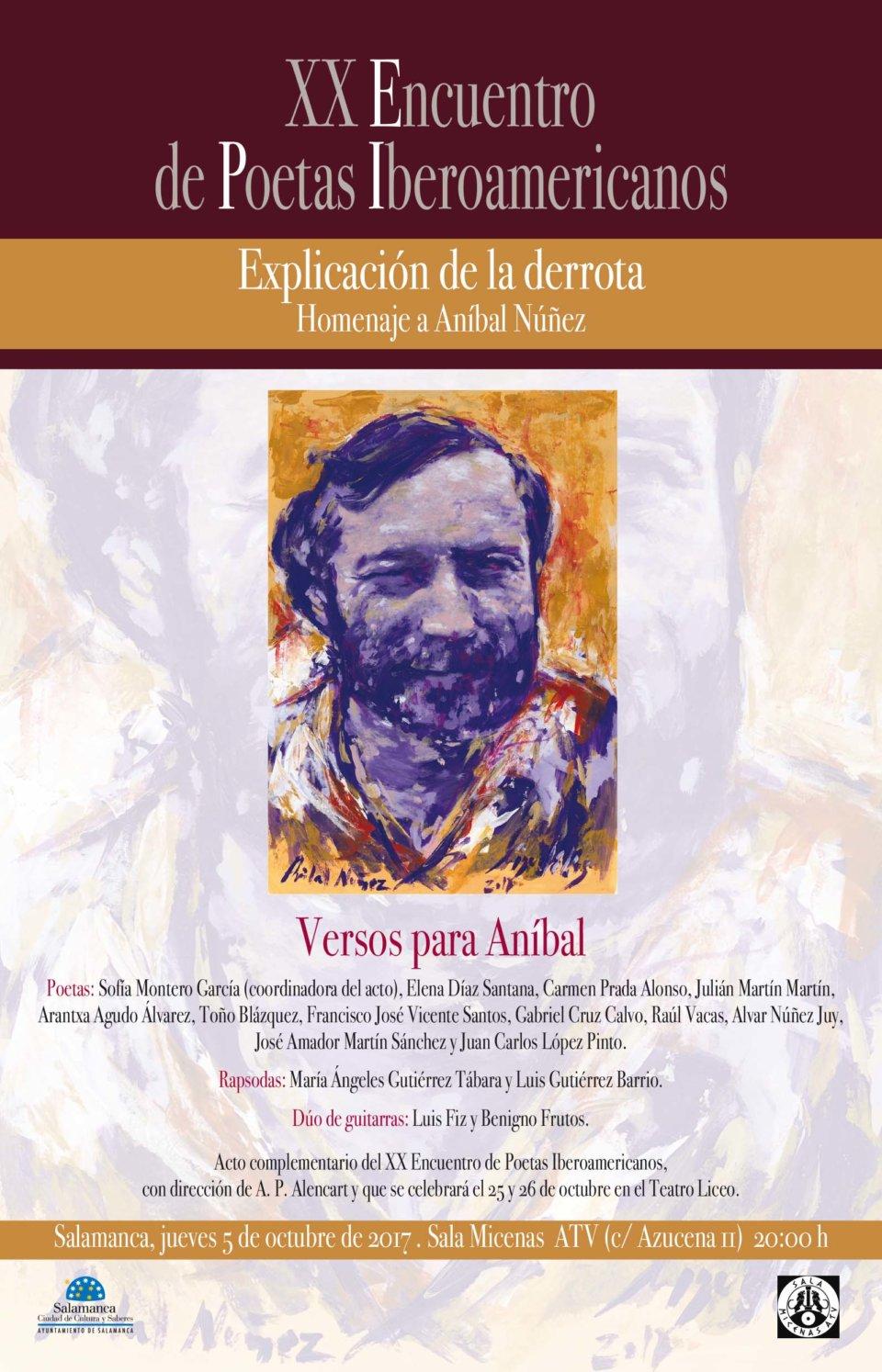 Versos para Aníbal Sala Micenas Adarsa Salamanca Octubre 2017