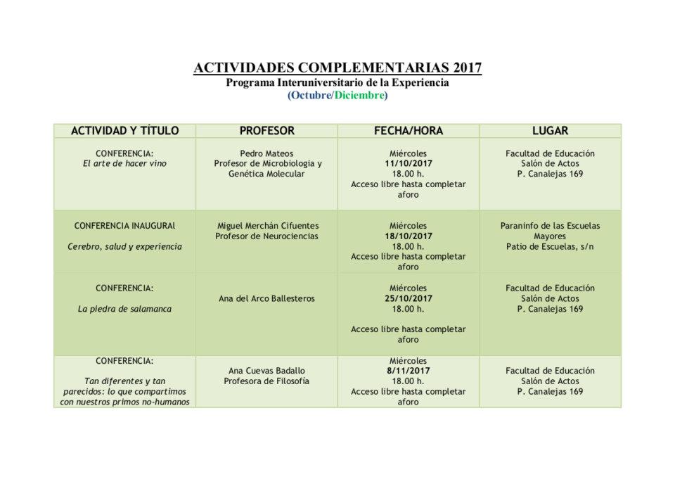 Programa Interuniversitario de la Experiencia Octubre noviembre 2017
