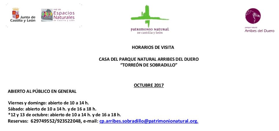 Horarios de octubre para el Torreon de Sobradillo