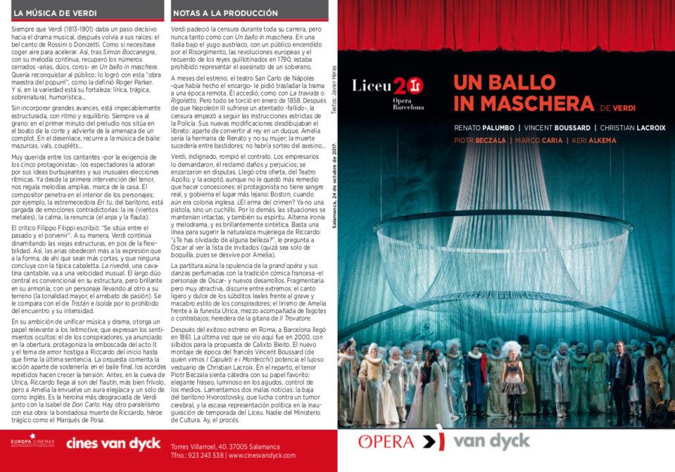 Cines Van Dyck Un ballo in maschera Salamanca Octubre 2017