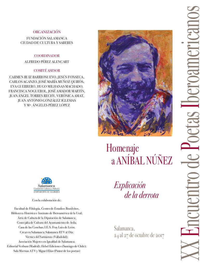 XX Encuentro de Poetas Iberoamericanos Homenaje a Aníbal Núñez Salamanca Octubre 2017