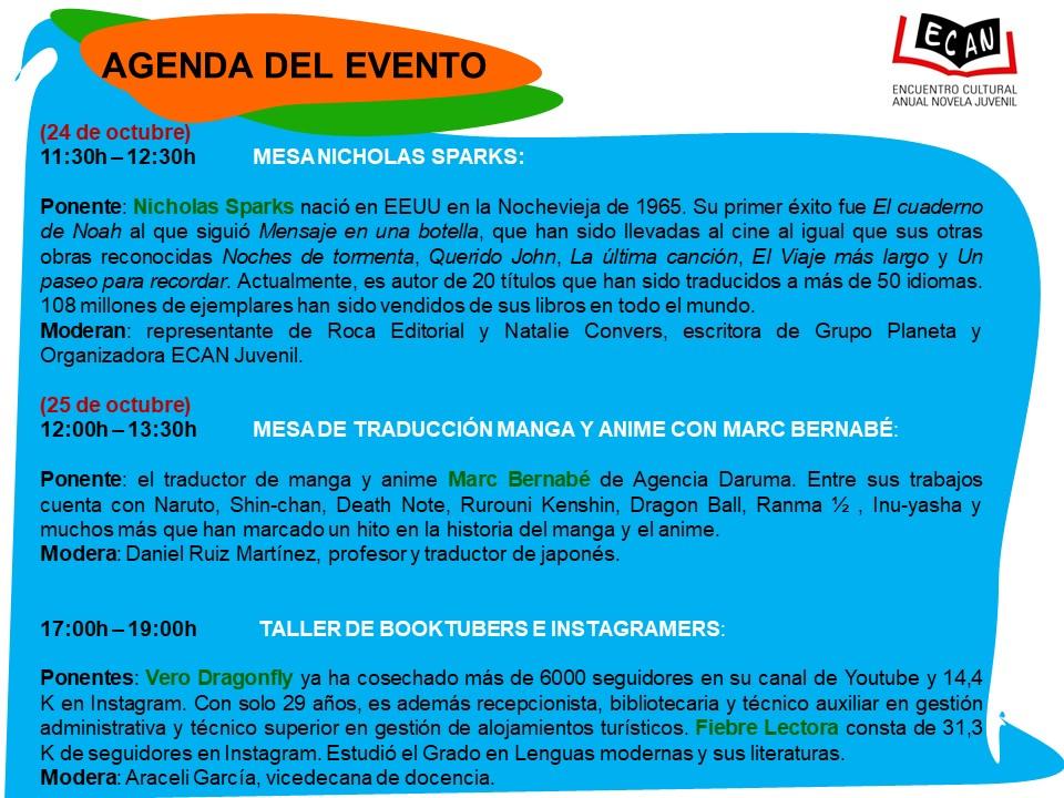 Agenda IV Encuentro Cultural Anual de Novela Juvenil ECAN Juvenil 2017 Salamanca Octubre