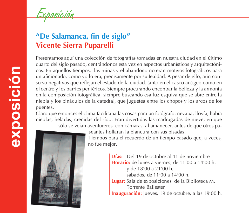 Vicente Sierra Puparelli De salamanca, fin de siglo Torrente Ballester Salamanca Octubre noviembre 2017