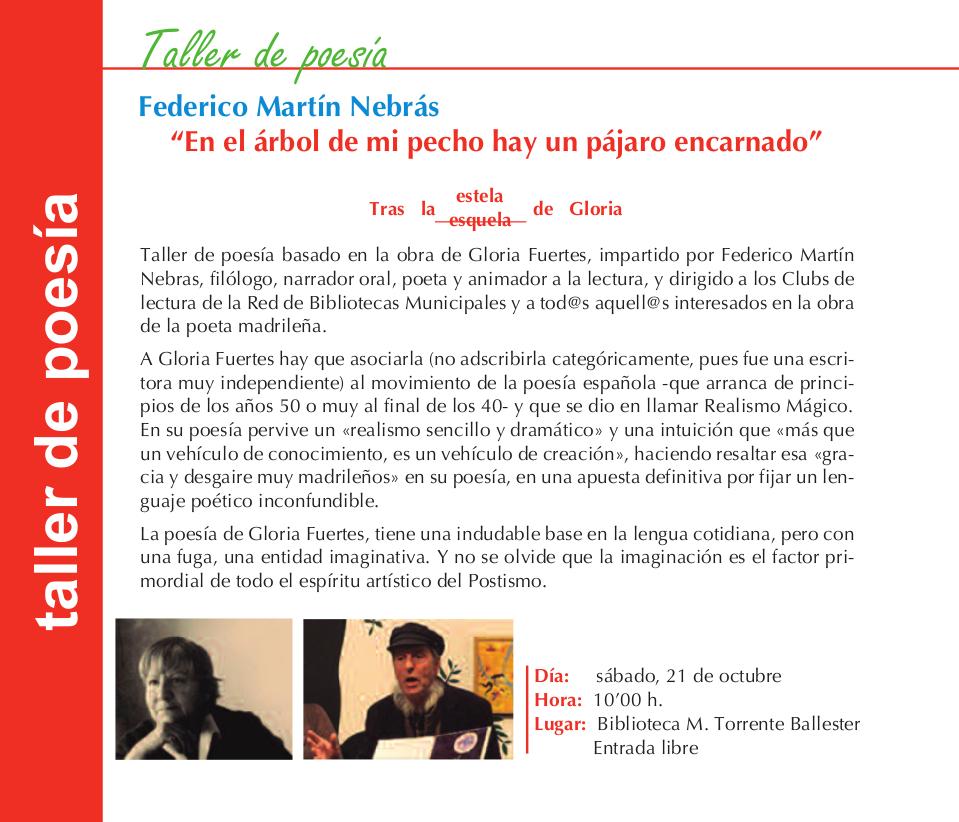 Federico Martín Nebrás En el árbol de mi pecho hay un pájaro encarnado Torrente Ballester Salamanca Octubre 2017