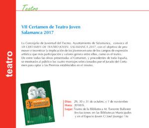 VII Certamen de Teatro Joven Salamanca 2017 Torrente Ballester Octubre noviembre