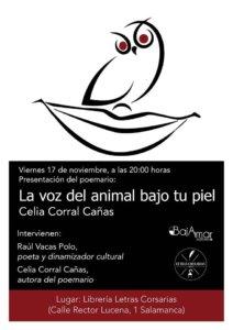 Letras Corsarias Celia Corral Cañas La voz del animal bajo tu piel Salamanca Noviembre 2017