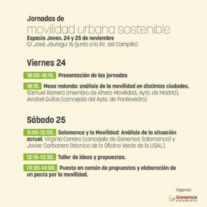 Programa Espacio Joven Jornadas de Movilidad Urbana Sostenible Ganemos Salamanca Noviembre 2017