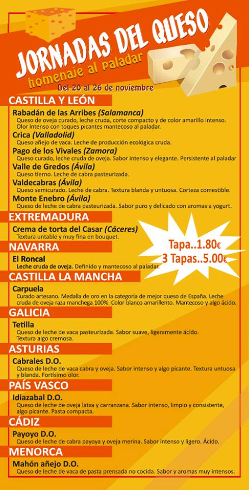 Cartel Café Bar Nº8 Jornadas del Queso Salamanca Noviembre 2017