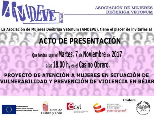 AMDEVE presentará su Proyecto para la prevención de violencia de género y atención a mujeres en situación de vulnerabilidad en Béjar.