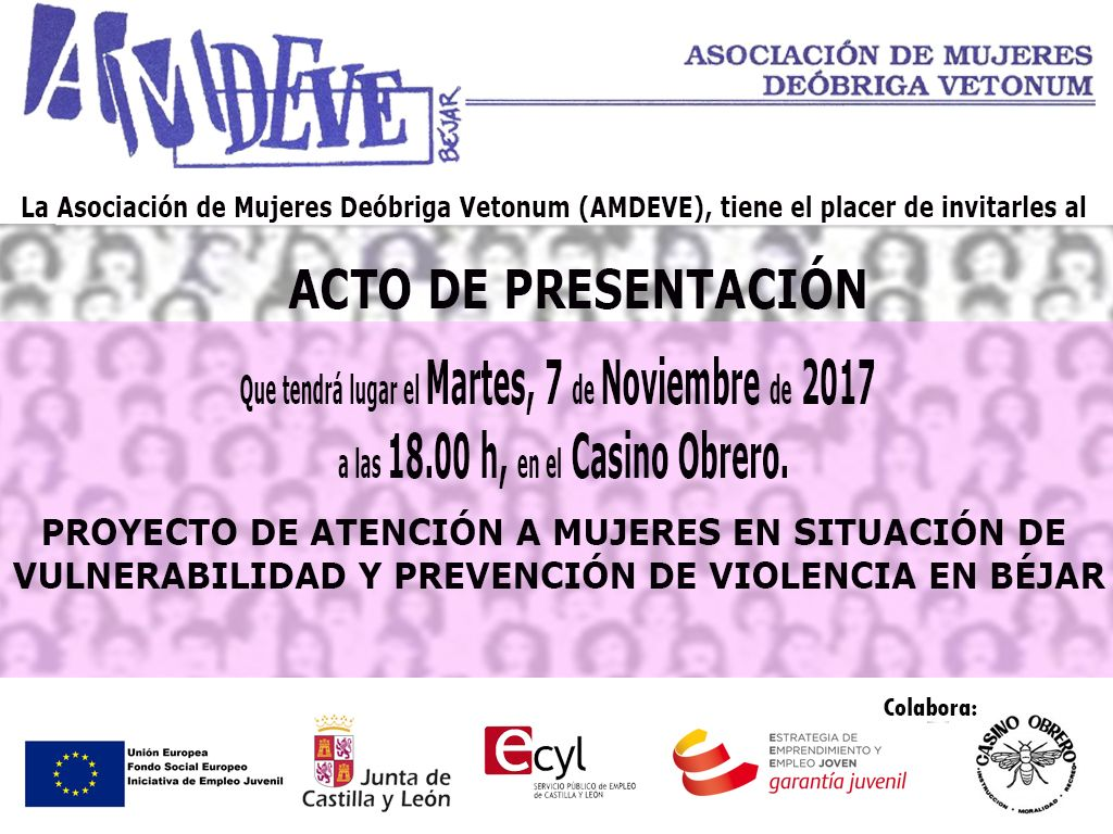 AMDEVE presentará su Proyecto para la prevención de violencia de género y atención a mujeres en situación de vulnerabilidad en Béjar