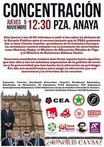 Concentración Por la Escuela Pública CEA Plaza de Anaya Salamanca Noviembre 2017