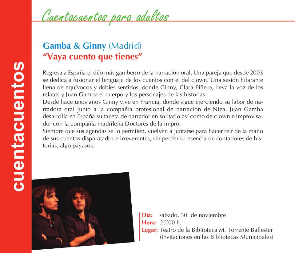 Torrente Ballester Gamba & Ginny Vaya cuento que tienes Salamanca Noviembre 2017
