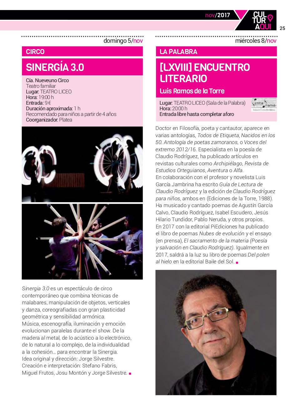 Teatro Liceo Compañía Nueveuno Circo Sinergia 3.0 Salamanca Noviembre 2017