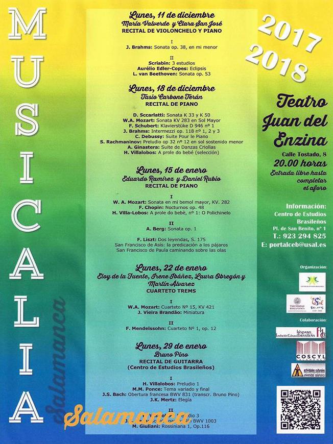 Aula Teatro Juan del Enzina Musicalia 2017-2018 Centro de Estudios Brasileños Salamanca