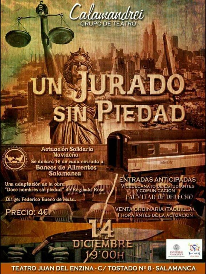 Aula Teatro Juan del Enzina Grupo de Teatro Calamandrei Un jurado sin piedad Salamanca Diciembre 2017