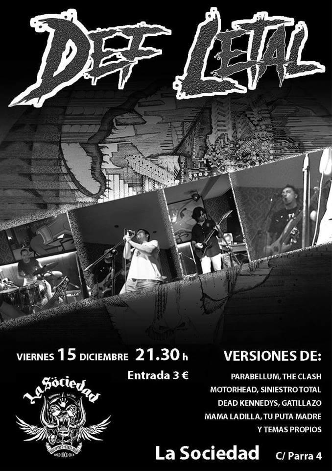 La Sociedad Hard Rock Club Def Letal Salamanca Diciembre 2017