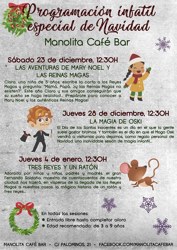 Programa Infantil Especial de Navidad 2017 Salamanca Manolita Café Bar