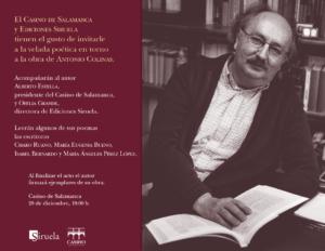 Casino de Salamanca Velada Poética en torno a la obra de Antonio Colinas Diciembre 2017
