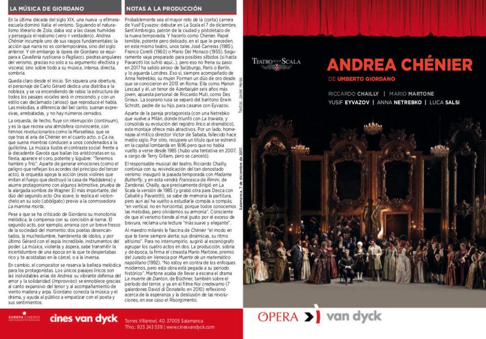 Cines Van Dyck Andrea Chénier Salamanca Diciembre 2017