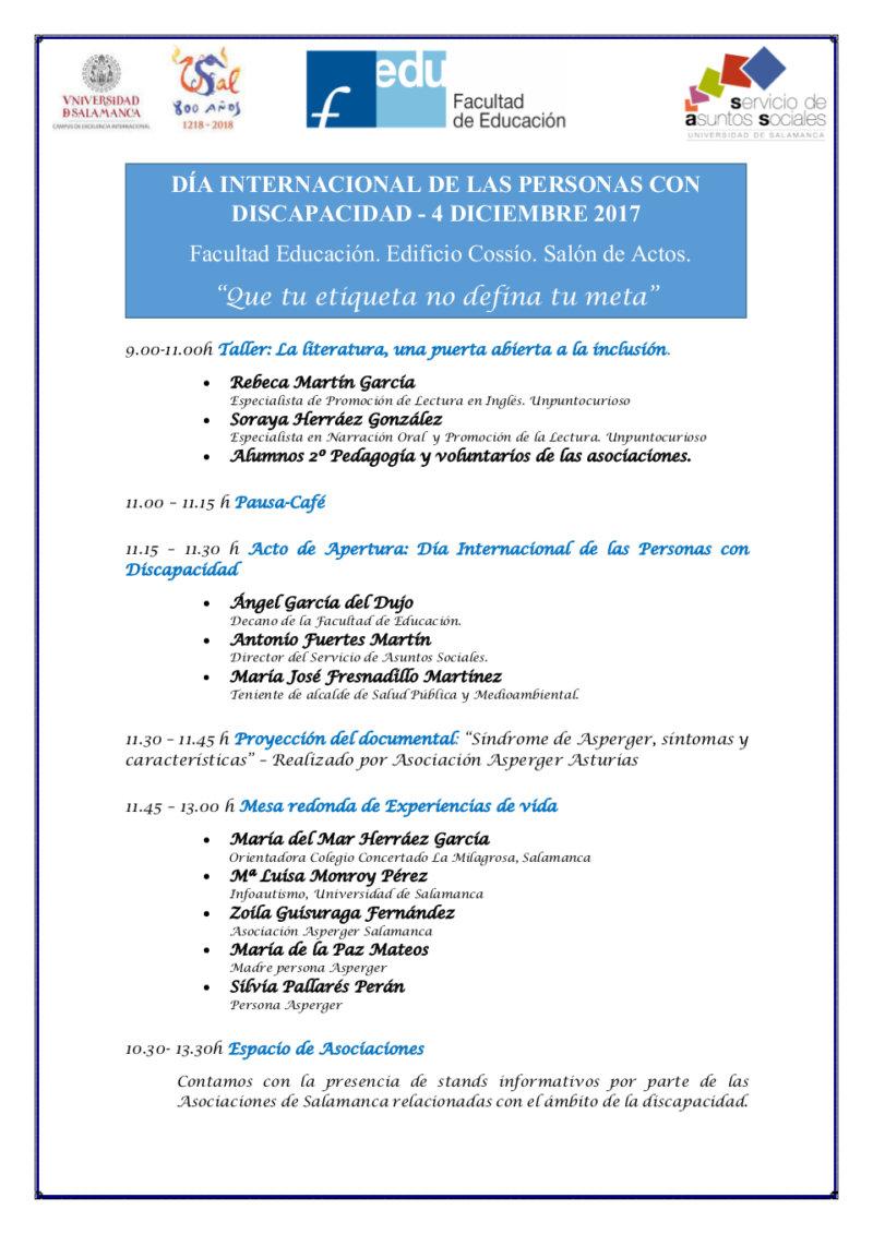 Día Internacional de las Personas con Discapacidad Universidad de Salamanca Diciembre 2017