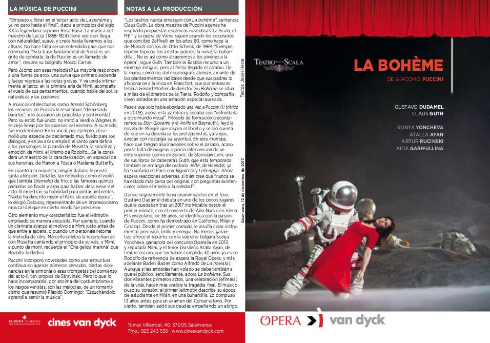 Cines Van Dyck La bohème Salamanca Diciembre 2017