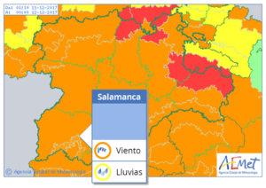 Este lunes, 11 de diciembre, la alerta meterológica sigue siendo naranja para Salamanca por Ana