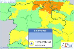 Salamanca espera una fin de semana de alertas amarilla y temperaturas mínimas