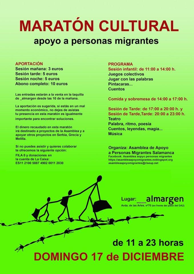 Espacio __Almargen Maratón Cultura Apoyo a personas migrantes Salamanca Diciembre 2017