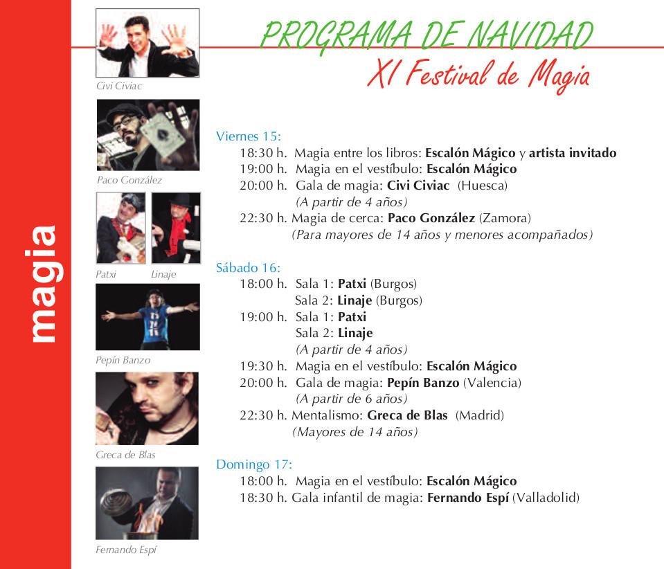 Programa Torrente Ballester XI Festival de Magia Salamanca Diciembre 2017