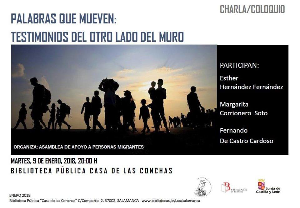 Casa de las Conchas Palabras que mueven: testimonios del otro lado del muro Salamanca Enero 2018