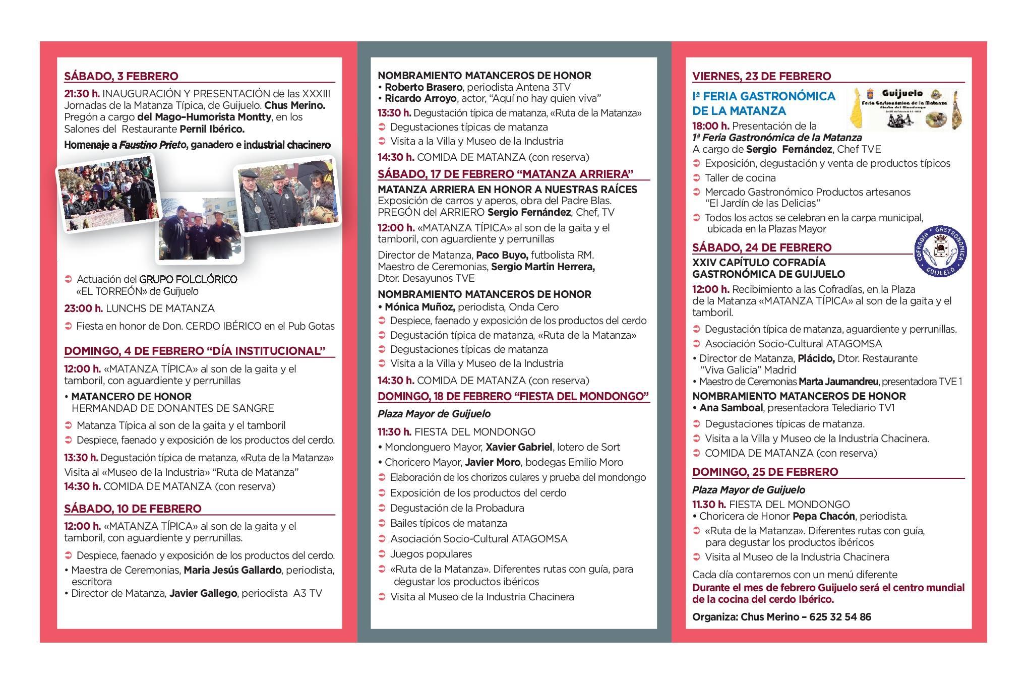 Programa Guijuelo XXXIII Jornadas de la Matanza Típica Febrero 2018