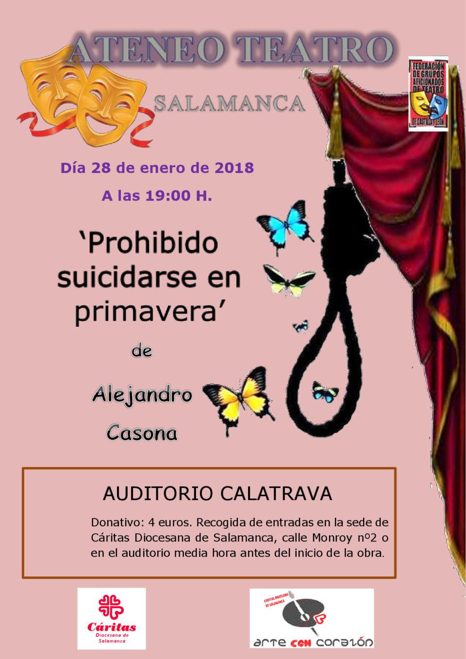 Auditorio Calatrava Ateneo Teatro Prohibido suicidarse en primavera Salamanca Enero 2018