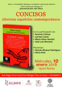 Colegio de Anaya Concisos: Aforistas españoles contemporáneos Salamanca Enero 2018